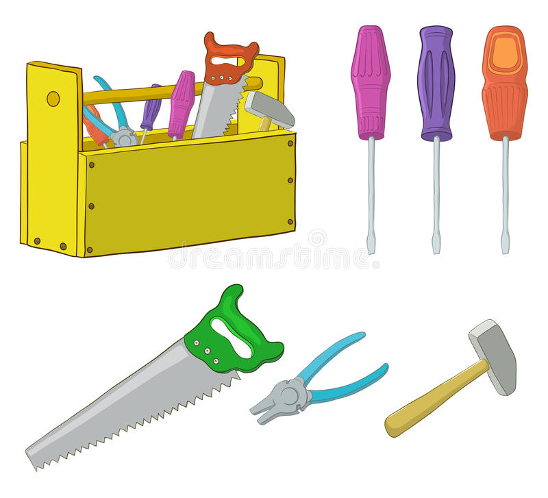 Tools, set. Set operating tools: hammers, saws, pliers, screwdrivers and wooden box stock illustration