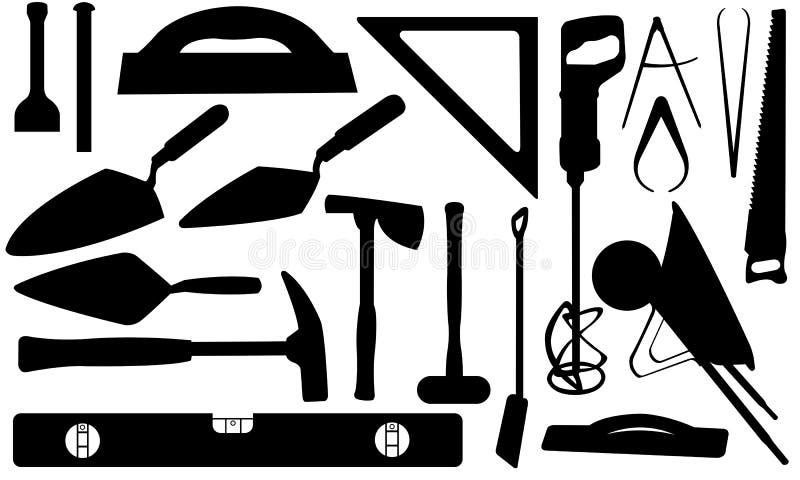 Tools. Set of different masonry tools royalty free illustration