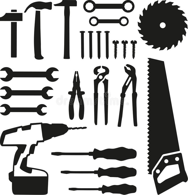 Tools set - saw, wrench, screwdriver, nails, screw, drill stock illustration