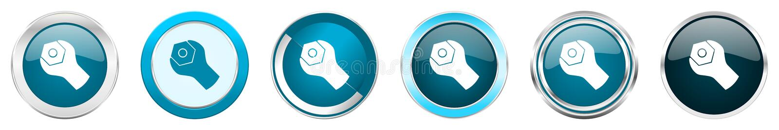 Tools silver metallic chrome border icons in 6 options, set of web blue round buttons isolated on white background royalty free illustration