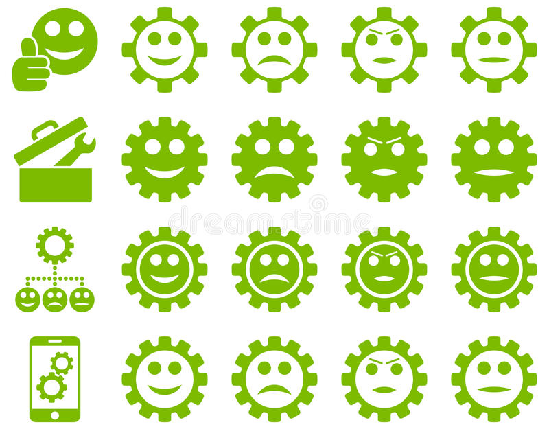 Tools and Smile Gears Icons vector illustration