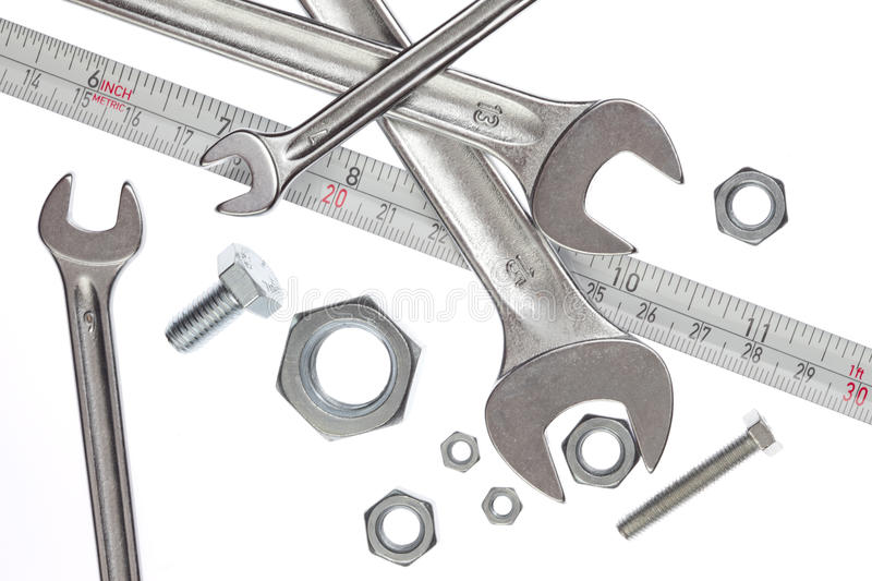 Download Tools, Spanners And Measuring Tape Stock Photo - Image of tape, mechanical: 19513590