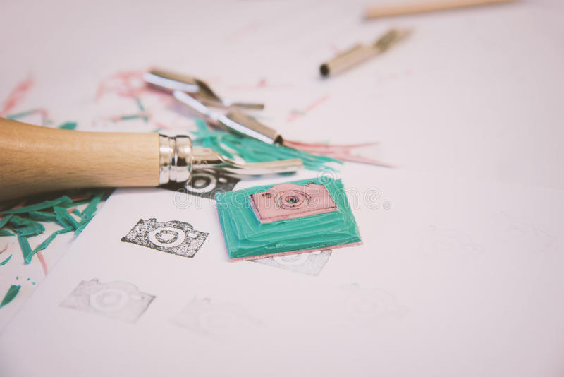 Tools for stamp making stock images