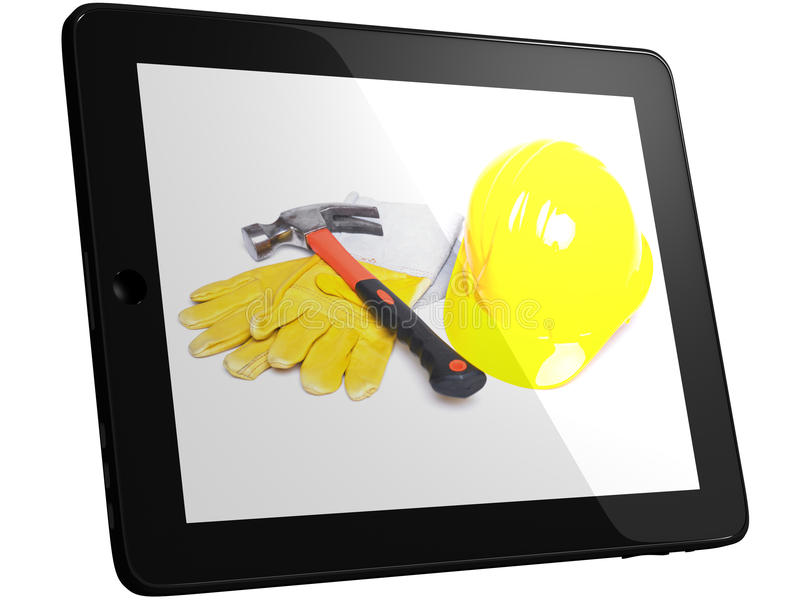 Tools On Tablet Computer Screen Stock Photography