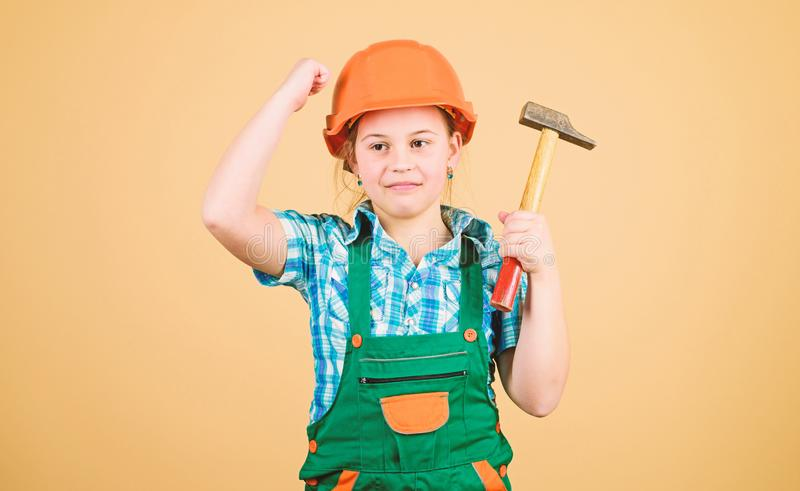 Tools to improve yourself. Child care development. Builder engineer architect. Future profession. Kid builder girl. Build your future yourself. Initiative royalty free stock photo