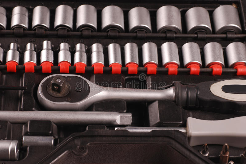 Tools in a toolbox stock photography
