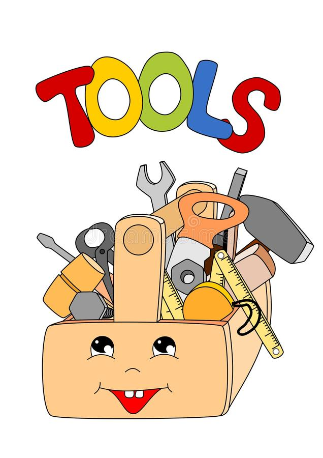 Tools in a toolbox. Cartoon tools in a toolbox on white background - kid illustration stock illustration