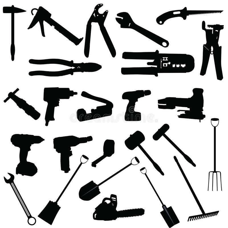 Free Tools Vector Silhouette Illustration Royalty Free Stock Photography - 47156647