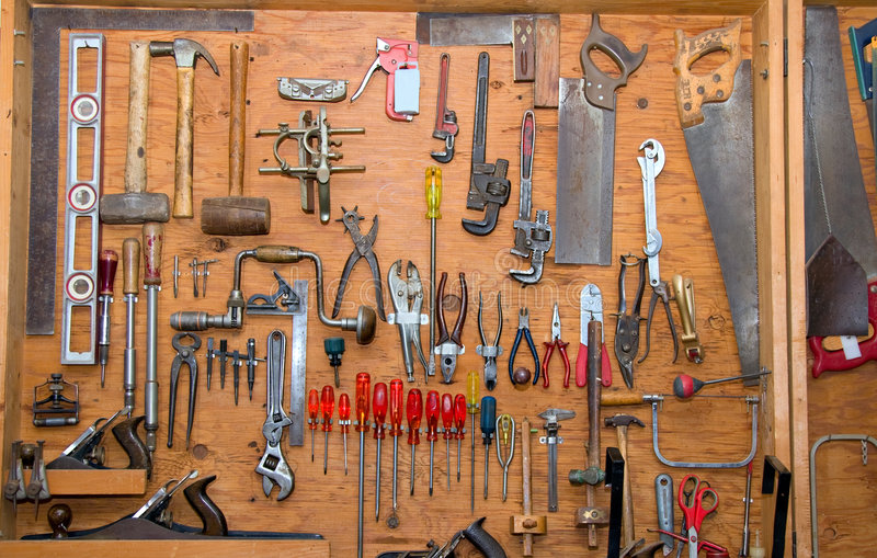 Download Tools on the wall stock photo. Image of improvement, nobody - 7561316