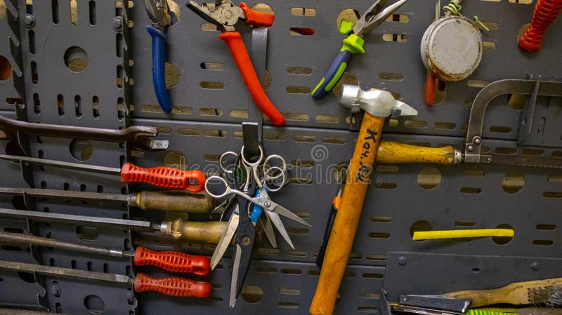 Old tools for metal work. stock photos