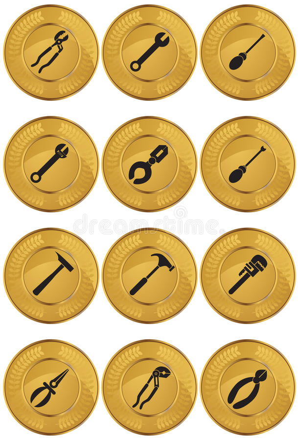 Tools Web Button - Gold Coin vector illustration