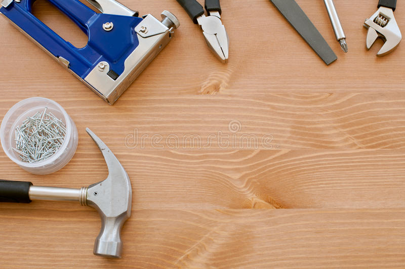 Download Tools on the wood stock photo. Image of items, construction - 24734372
