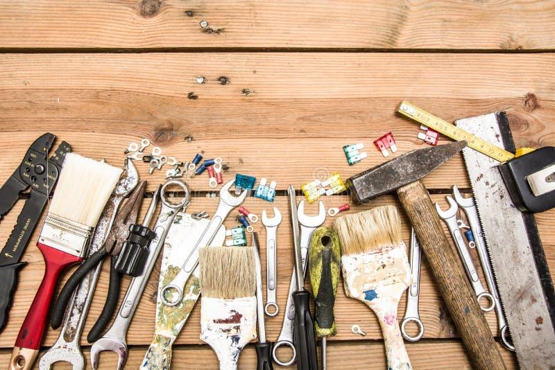 Tools on wood. Many tools on wood table stock photo