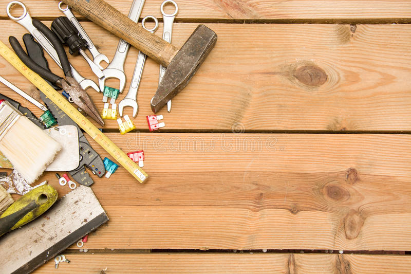 Tools on wood. Many tools on wood table stock images