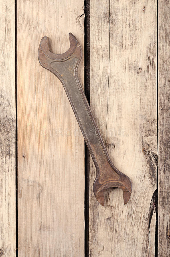 Tools. Wrench on wooden background. Ready for work. Tools. Ready for work. Wrench on wooden background stock images