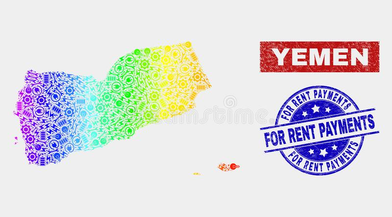 Rainbow Colored Service Yemen Map and Distress For Rent Payments Stamps. Tools Yemen map and blue For Rent Payments distress seal. Spectral gradiented vector royalty free illustration