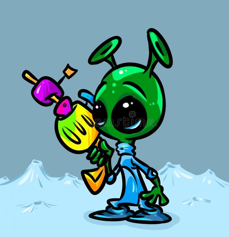 Toon alien blaster royalty free illustration