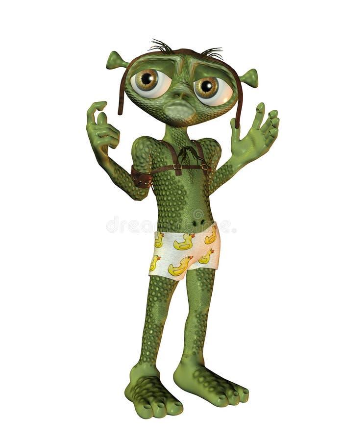 Toon Alien with estranged Pose stock illustration