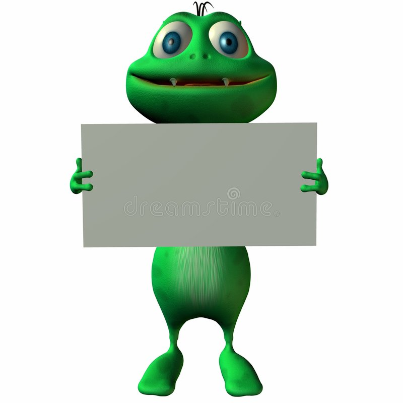 Toon Alien with Sign vector illustration