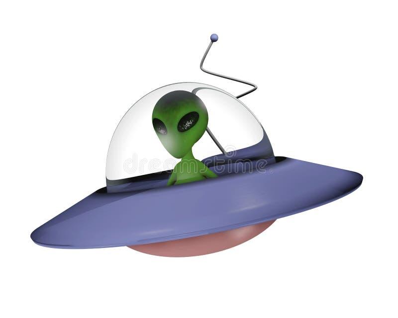 Toon alien on spaceship royalty free illustration