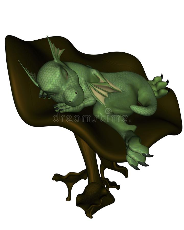 Toon Baby Dragon On A Toadstool Stock Photos