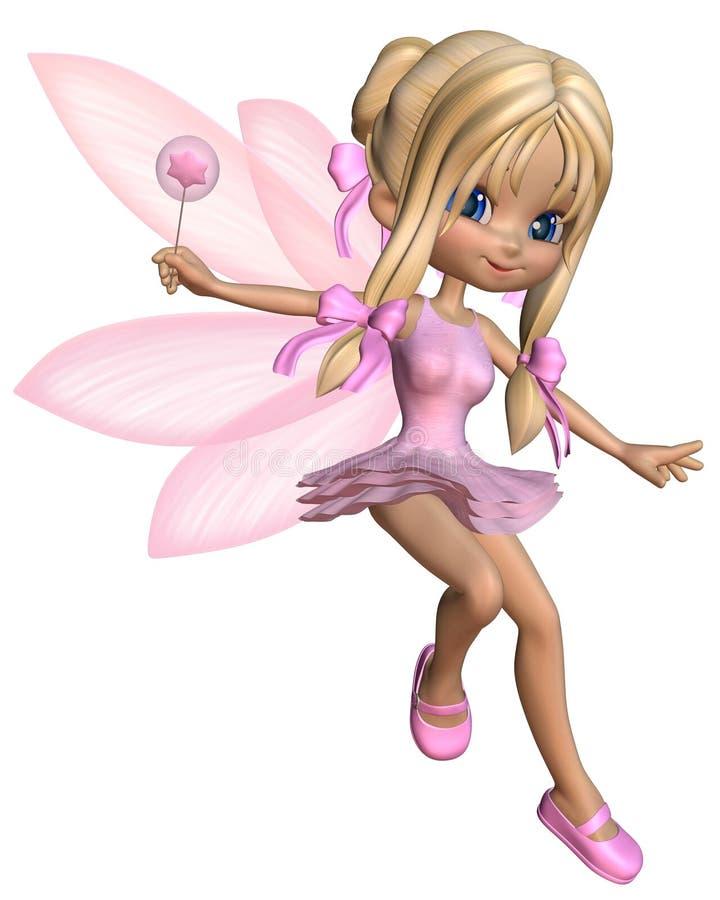 Toon Ballerina Fairy mignon dans le rose - sautant illustration stock