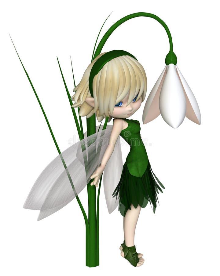 Toon Blonde Snowdrop Fairy bonito, estando ilustração do vetor
