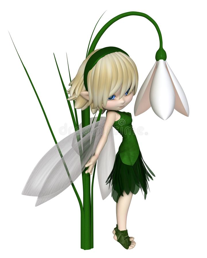 Toon Blonde Snowdrop Fairy mignon, se tenant illustration de vecteur