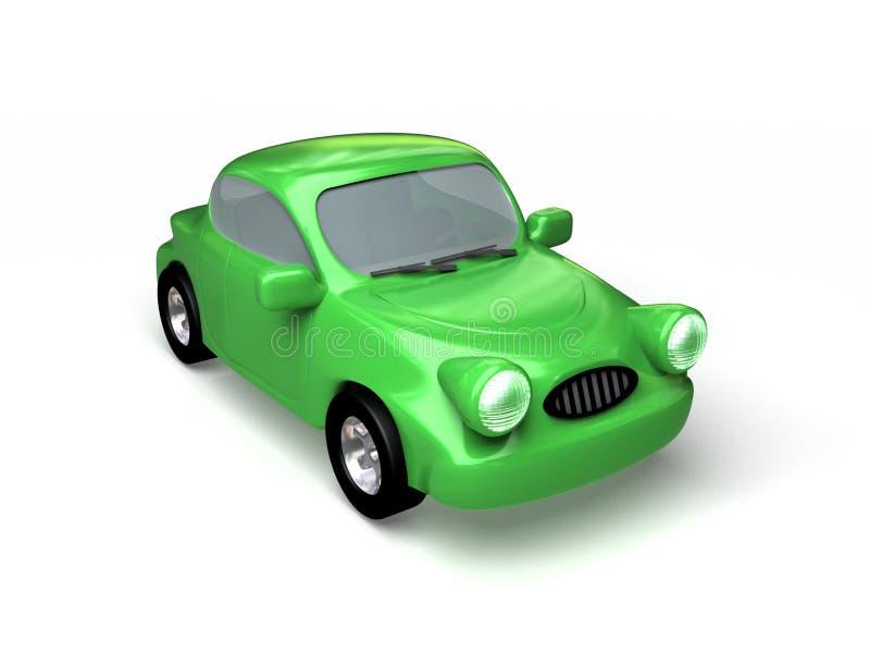 Toon car. Green car on white background. 3d render vector illustration