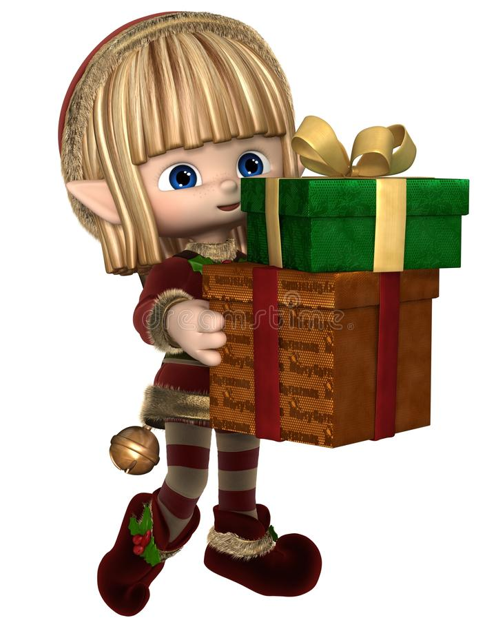 Toon Christmas Elf Carrying Presents lindo ilustración del vector
