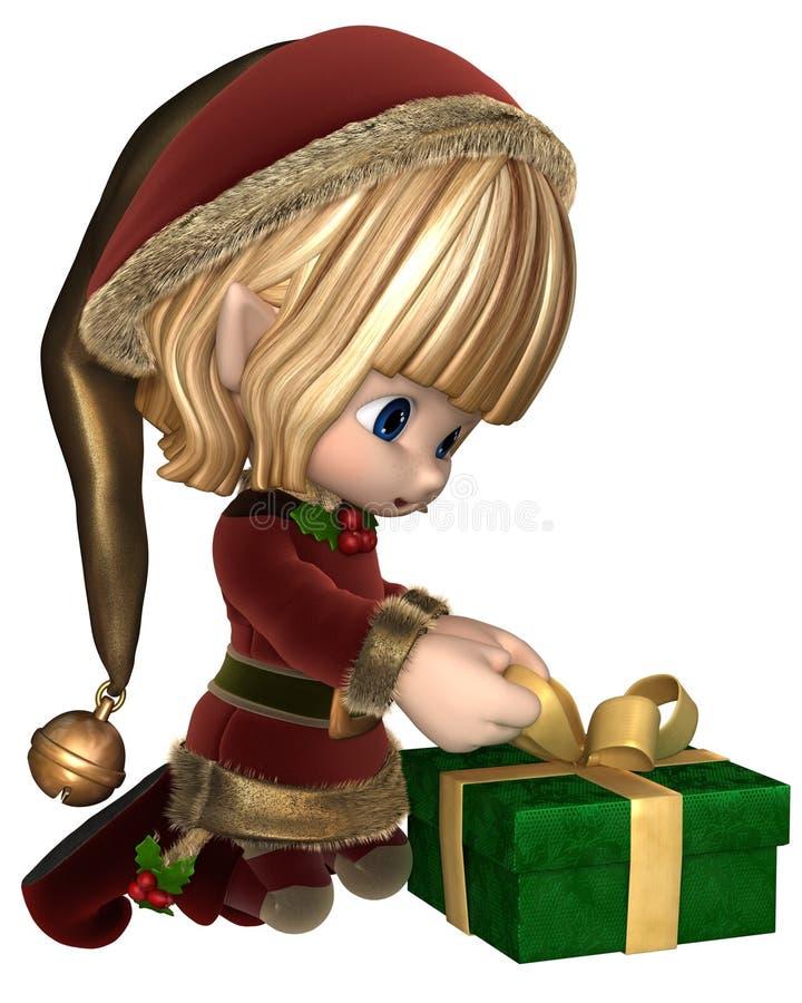 Toon Christmas Elf Wrapping lindo un presente stock de ilustración