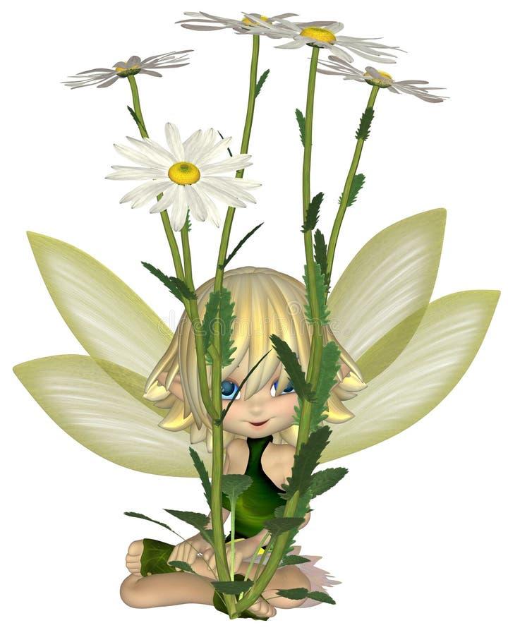Toon Daisy Fairy mignon, s'asseyant illustration libre de droits