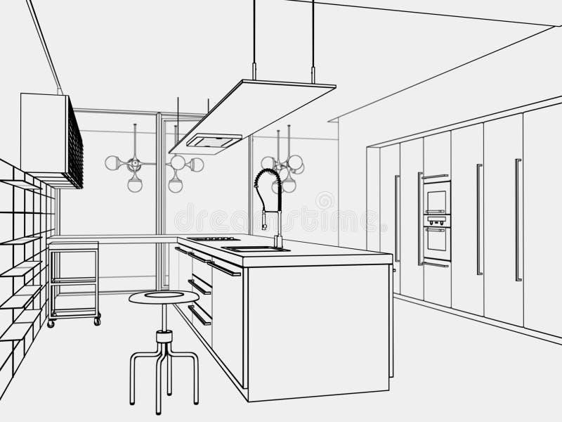 Toon-estilo de la cocina ilustración del vector