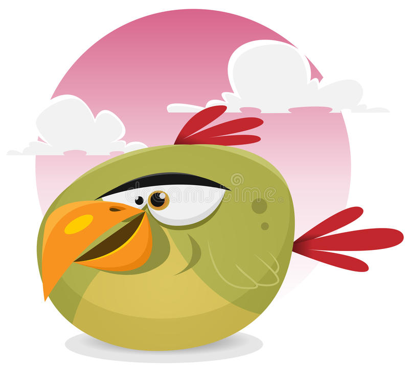 Toon Exotic Bird. Illustration of a funny tiny cartoon tropical parrot bird character smiling on a pink sky background royalty free illustration
