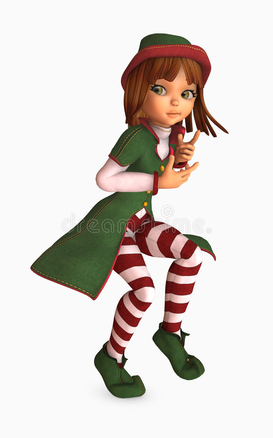 Toon Girl Christmas Elf Royalty Free Stock Photo