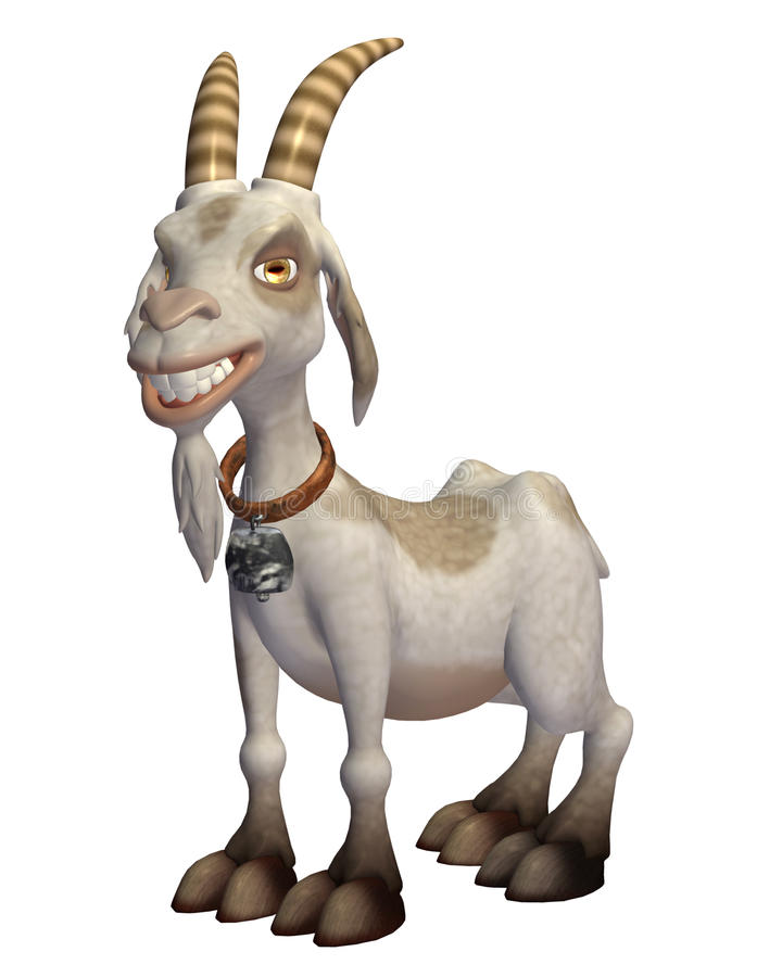Toon goat. 3D render of a cute toon goat royalty free illustration