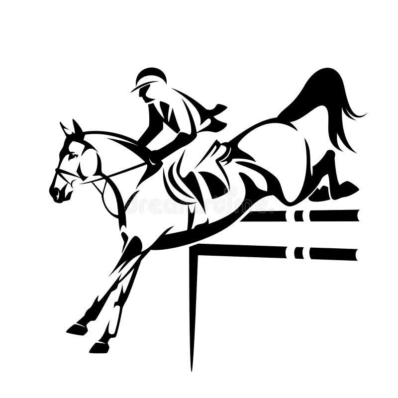 Toon het springen paard en ruiter zwart vectoroverzicht vector illustratie