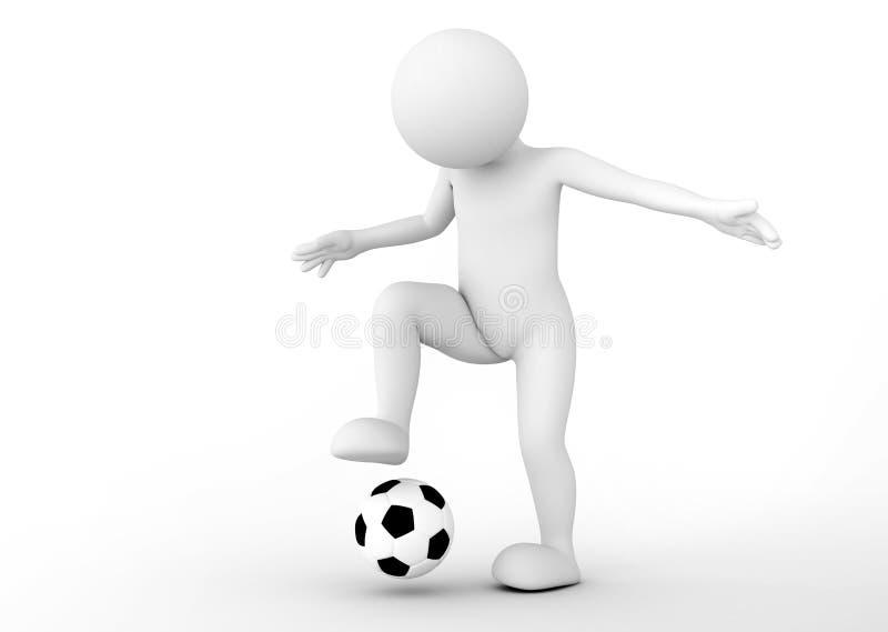 Toon mężczyzna gracz piłki nożnej drybluje piłkę pojęcia kąta pola futbolowe trawy zielone liny ilustracji