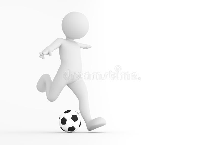 Toon mężczyzna gracza piłki nożnej strzelanina na celu pojęcia kąta pola futbolowe trawy zielone liny ilustracja wektor