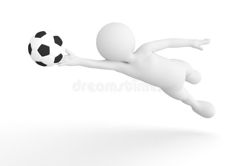 Toon mężczyzna piłki nożnej bramkarz ratuje piłkę od celu pojęcia kąta pola futbolowe trawy zielone liny ilustracji