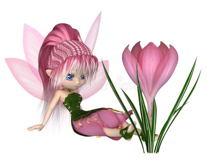 Toon Pink Crocus Fairy mignon, s'asseyant par une fleur illustration stock