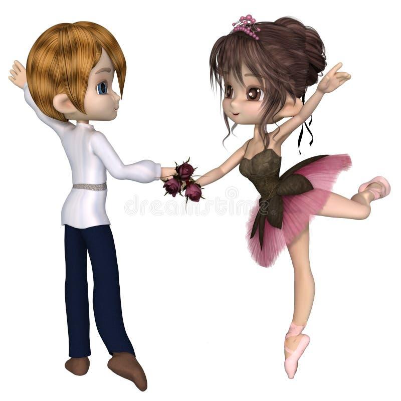 Toon Pink Rose Ballet Pas mignon De Deux illustration de vecteur
