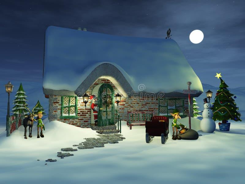 Toon Santa che guarda i suoi elfi. illustrazione di stock