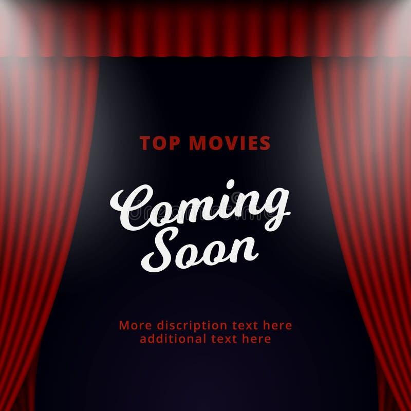 Toon spoedig komend affichebevordering vectorontwerp Geopende het gordijnachtergrond van het theaterstadium met twee schijnwerper royalty-vrije illustratie