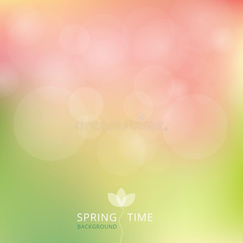 Toon van de de herfst de groene en roze kleur van de de lentezomer met bokeh backgr stock illustratie
