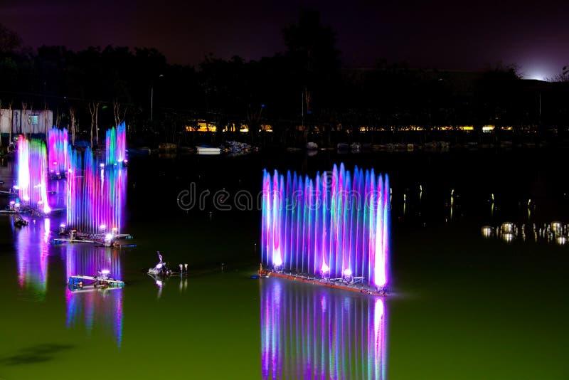 Toon van muzikale fontein in het meer stock foto's