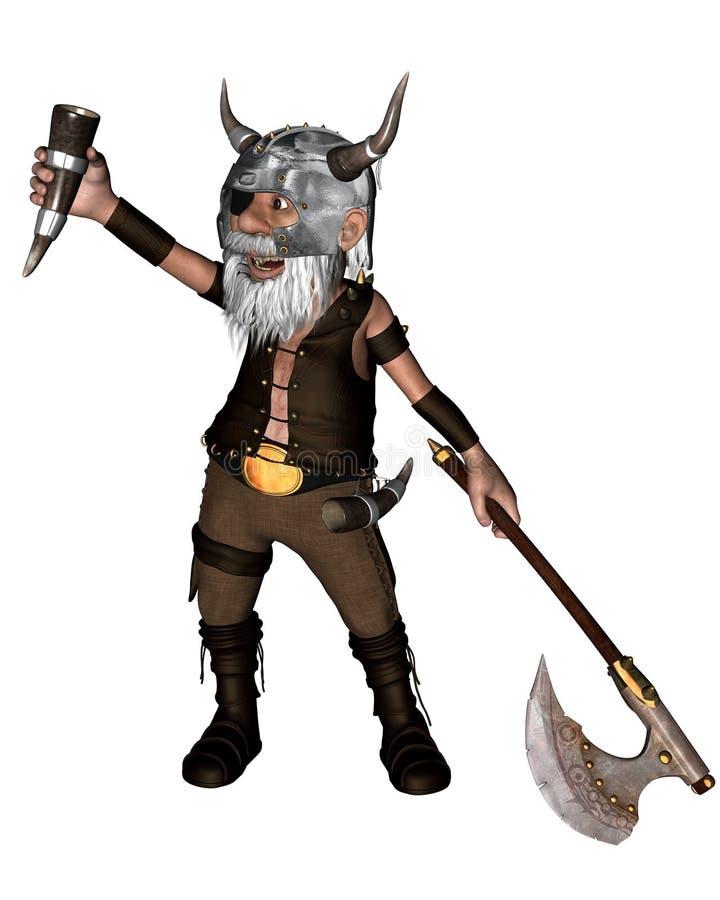 Toon Viking Dwarf met Bijl - 1 vector illustratie