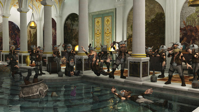 Download Toon Viking Horde In The Bath House Royalty Free Stock Image - Image: 27242456