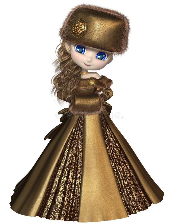 Toon Winter Princess En Or Photos libres de droits