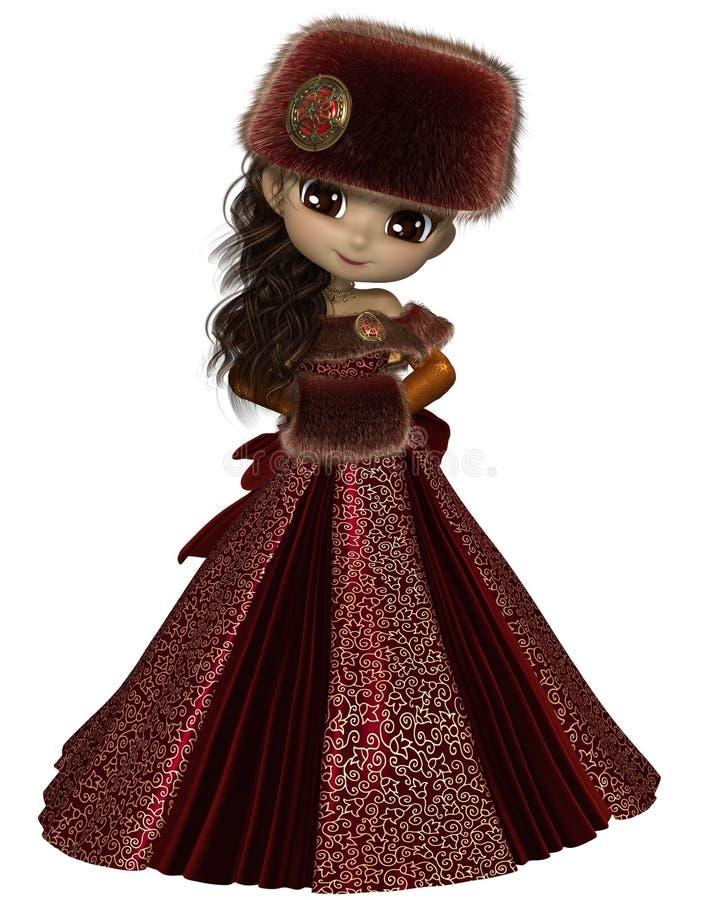 Toon Winter Princess no vermelho ilustração royalty free